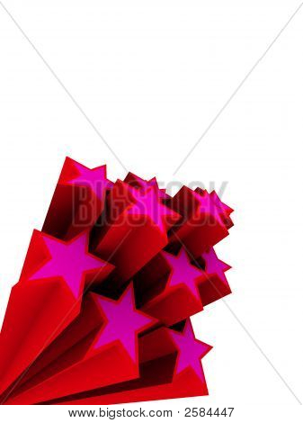 3d rendered illustration of red and pink stars poster
