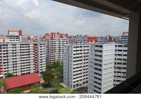 Singapore - 09 Sep 2018: View Of Singapore Residential Building Also Known As Hdb
