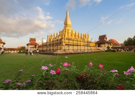 Wat Pha That Luang Temple In Vientiane, Laos.