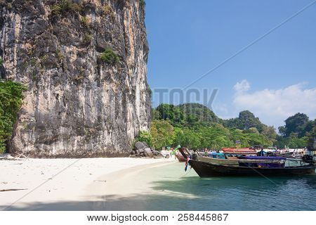 Cliff Beach Boat And Sky At  Phuket,thailand