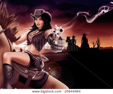 Cowgirl shooting gun