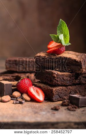 Clipping Paths Homemade Dark Chocolate Brownies And Strawberry Delicious Bitter Sweet And Fudge. Bro