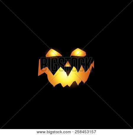 Halloween Night Vector Illustration Of Scary And Evil Pumpkin Jack O Lantern Glowing Face With Terri