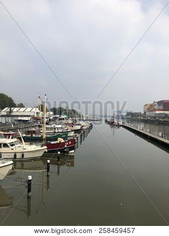 Brussels, Belgium, September 10th, 2018 : Boats and yachts in marina of Brussels view from the terrace of the Brussels Royal Yacht Club