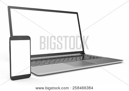3d Illustration Desktop Computer Blank Mock Up. Glossy Laptop Computer Mock Up. Modern Computer Mock
