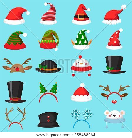 Cartoon christmas hat. Xmas different hats, winter masquerade masks. Elves ears, deer horns and snowman mask vector set poster