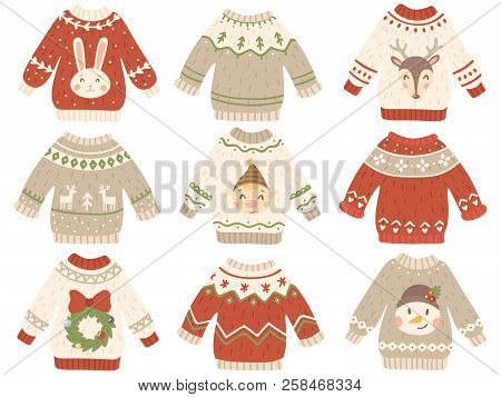 Cute Christmas Jumper. Xmas Ugly Sweater With Funny Snowman, Santas Helpers And Santa Beard. Winter