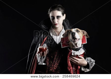 Woman And Her Dog In Similar Vampire Costumes For Halloween. Young Female With Glass Of Red Drink An