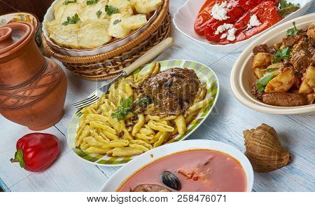 Balkan cuisine cuisine, Traditional assorted dishes, Top view. poster