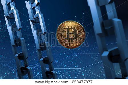 Golden Bitcoin Digital Currency, Futuristic Digital Money, Technology Worldwide Network Concept. Vir