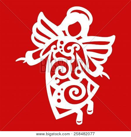 White Christmas Flying Angel On The Red Background. Silhouette Of Angel May Use For Card, Laser. Cut