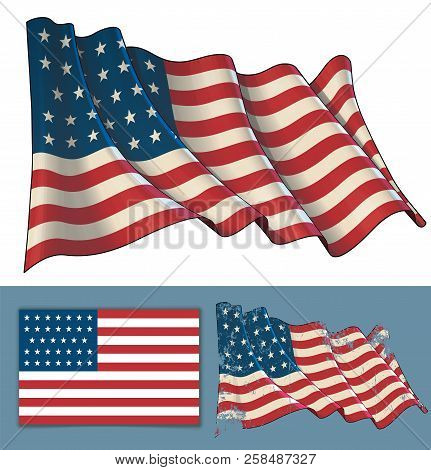 Vector Illustration Of A Waving Flag Of Usa During The American Civil War. Textured Version And Flat