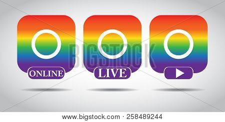 Live video button, symbol, sign. Social media icon avatar LIVE video streaming in LGBT gradient. Social media, user stream. Element for social network, web, mobile, ui, app. EPS 10