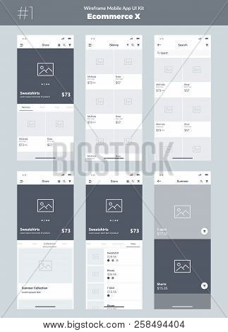Wireframe Kit For Mobile Phone. Mobile Application Ui, Ux Design. New Ecommerce Screens: Store, All