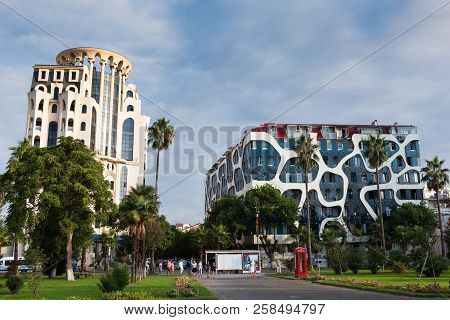 August 21, 2018 Batumi, Adjara, Georgia. View On The Residential Houses In The City Center With Unus