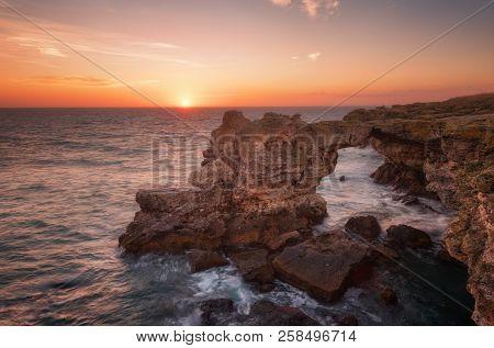 Seascape During Sunrise. Beautiful Natural Seascape. Sea Sunrise At The Village Of Tyulenovo. Magnif