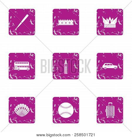 Elite Sport Icons Set. Grunge Set Of 9 Elite Sport Vector Icons For Web Isolated On White Background