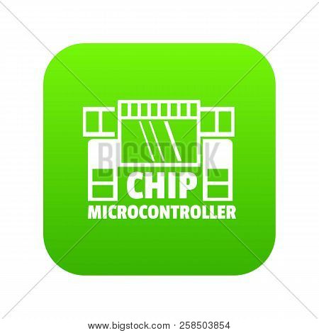 Chip Microcontroller Icon Green Vector Isolated On White Background