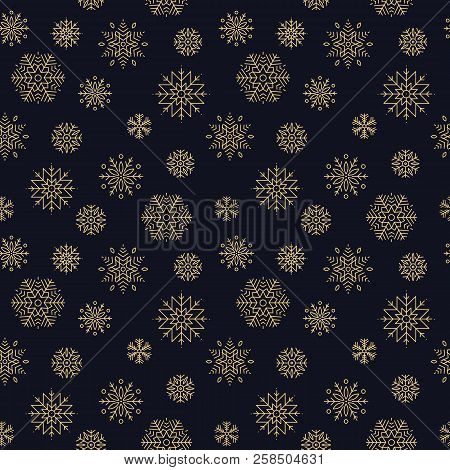 Snowflake Pattern. Design Of Seamless Pattern With Lden Gosnowflakes On Dark Blue Background. Backgr