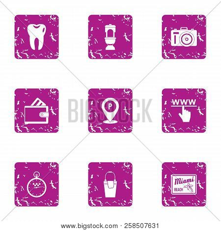 Online Interactive Icons Set. Grunge Set Of 9 Online Interactive Vector Icons For Web Isolated On Wh