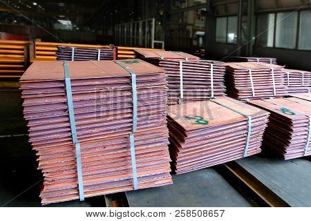 Many Of Copper Sheet Stack  Are Placed In Yard Waiting To Process To Melting