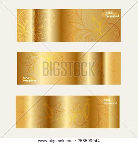 Gold  Template Banners Set With Gold Floral Pattern. Set Gold Vector Banners For Business Presentati