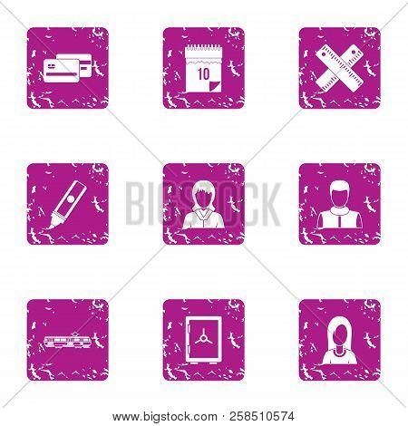 Cash Economize Icons Set. Grunge Set Of 9 Cash Economize Vector Icons For Web Isolated On White Back