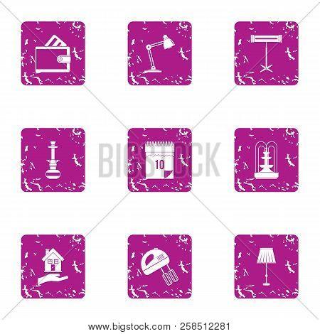 Workstation Icons Set. Grunge Set Of 9 Workstation Vector Icons For Web Isolated On White Background