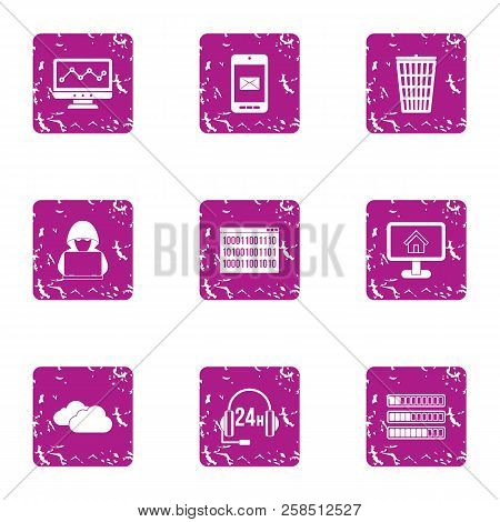 Cyberspace Threat Icons Set. Grunge Set Of 9 Cyberspace Threat Vector Icons For Web Isolated On Whit