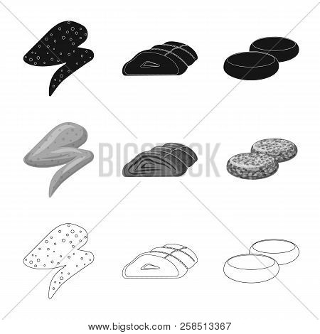 Vector Illustration Of Meat And Ham Icon. Set Of Meat And Cooking Stock Vector Illustration.