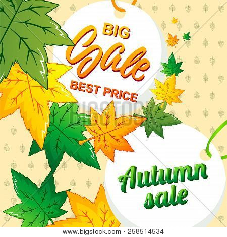 Big Best Autumn Sale Concept Background. Cartoon Illustration Of Big Best Autumn Sale Vector Concept