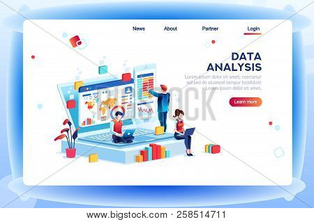 Data Analysis Concept With Characters. Engine Strategy, Analyzing, Infographic Of Workplace For Deve