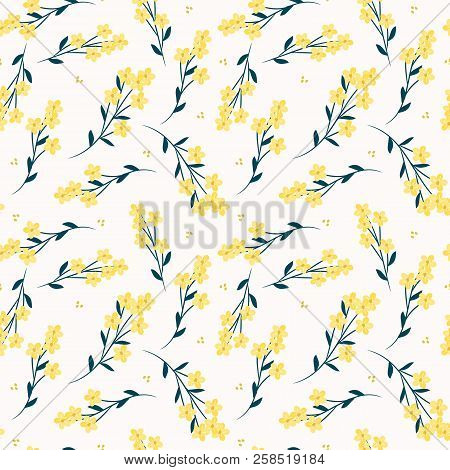 Cute Flower Seamless Pattern. Bright Yellow Flowers On White Background.