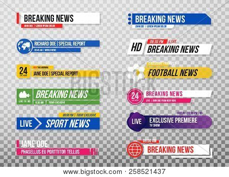 Lower Third Template. Set Of Tv Banners And Bars For News And Sport Channels, Streaming And Broadcas