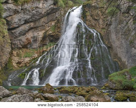 Beautiful Golling Waterfall, Near Golling And Salzburg Medieval Town At Summer In Austria