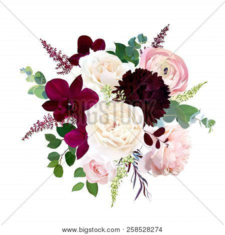 Luxury Fall Flowers Vector Bouquet. Dark Orchid, Garden Rose, Burgundy Red Dahlia, Ranunculus, Astil