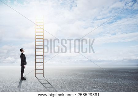 Businessman Looking At Stairs On Sky Background. Success, Opportunity And Future Concept