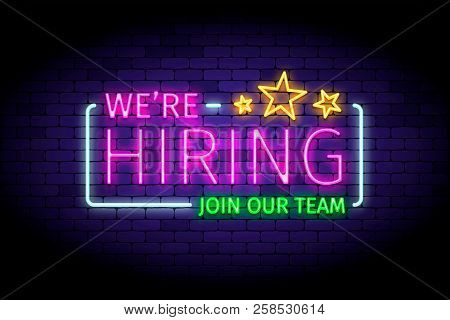 We Are Hiring Vector Illustration In Realistic Neon Style