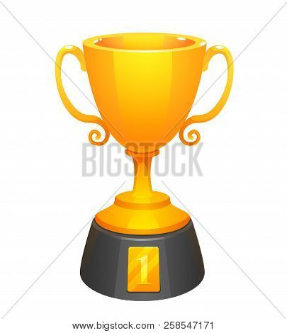 Gold Cup Trophy Award With Base. Prize For The First Place. Shiny Trophy On White Background.