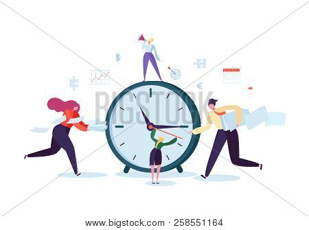 Time Management Concept. Flat Characters Organization Process. Business People Working Together Team