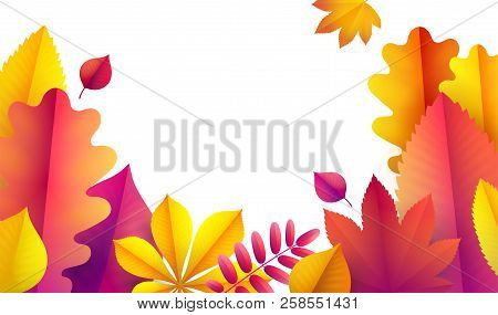 Hello Autumn, Sale Flyer Template For Your Text. Vector Background Of Bright Falling Red, Yellow And