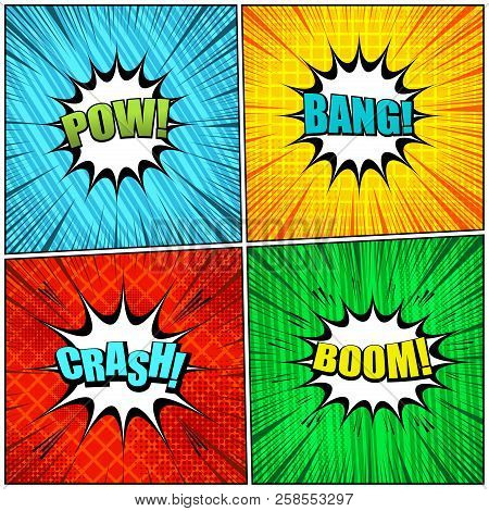 Comic Pages Elegant Collection With Colorful Pow Bang Crash Boom Wordings Slanted Lines Grid Rays An