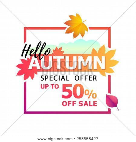 Vector Illustration Of Bright Autumn Fallen Leaves With Text Hello Autumn. Special Offer. Up To 50 O