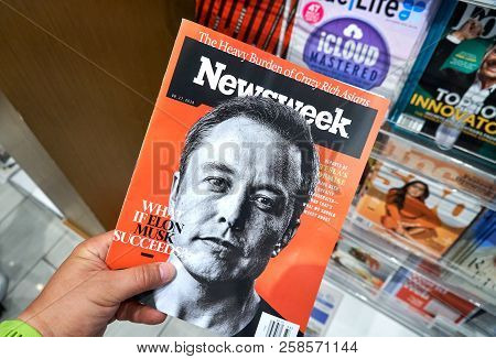 Miami, Usa - August 23, 2018: Newsweek Magazine With Elon Musk On Main Page In A Hand. Newsweek Is A