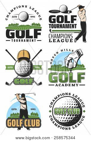 Golf Tournament And Champion League Retro Icons, Sport Club Design. Golfer With Ball And Club, Green
