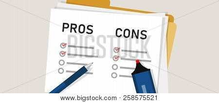 Pros Cons Concept On Decision Making Process. Listing Positive And Negative For A Solution Or Choice