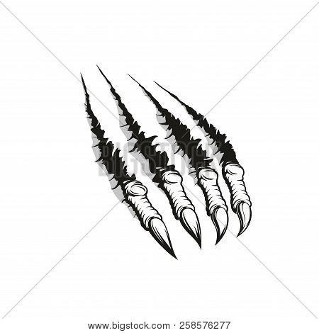 Monster Claw Ripping Through Background, Tattoo Or T-shirt Print Design. Paw Mark Of Aggressive Anim