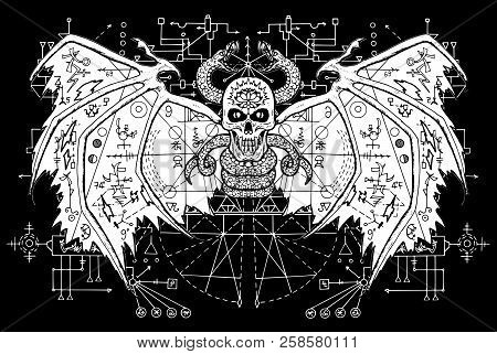 White Demon With Sacred Geometry Signs On Wings Against Black Mystic Background. Esoteric, Occult An