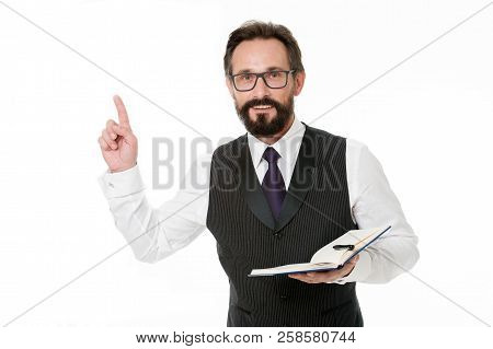 Man Got New Idea Keeping Finger Up With Open Notebook. Man Write Business Idea Down In Notebook. I S