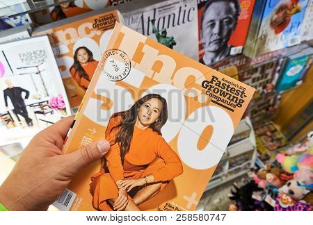 Miami, Usa - August 22, 2018: Inc Magazine In A Hand Over A Stack Of Magazines. The Inc. 500 Is An A